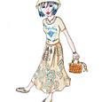 エキゾチックなスカートに夏っぽい鞄を添えて